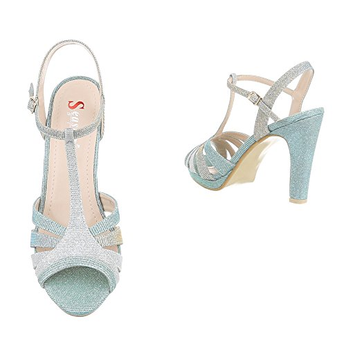 Schuhcity24 Damen Schuhe Sandaletten High Heels Pumps Türkis