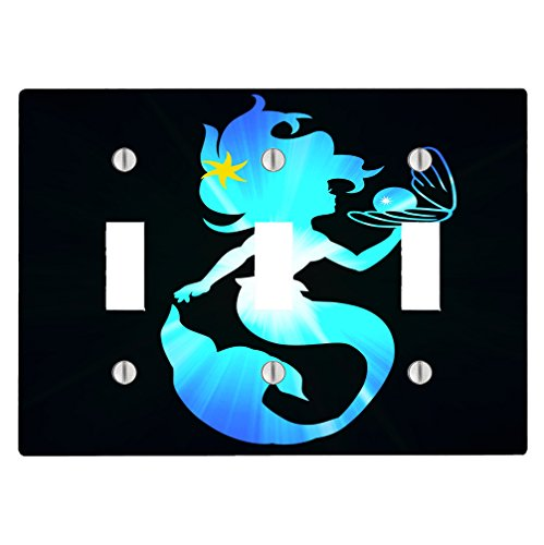Trendy Accessories Beautiful Mermaid Holding Pearl Yellow Star 3 Toggle Electrical Switch Wall Plate Cover (6.56 x ()