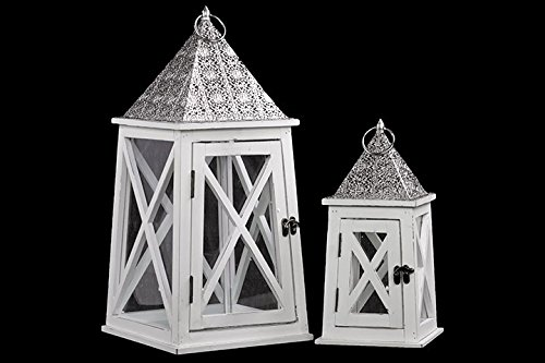 Urban Trends 26906-UT Decorative Wooden Lantern, White (White Wooden Lanterns Decorative)