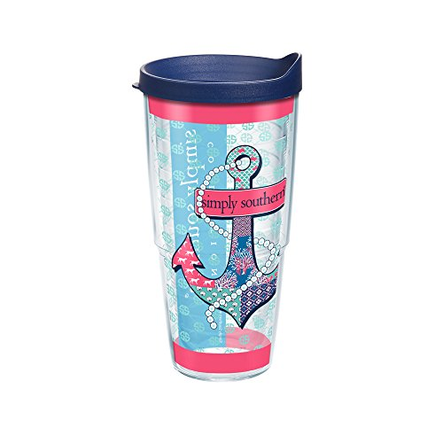 Tervis Simply Southern Anchor And Pearls Wrap Tumbler with Navy Lid, 24 oz, Clear