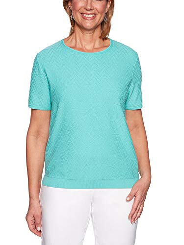 Alfred Dunner Women's Petite Classics Solid Short Sleeve Sweater Shell, Spearmint, Medium Petite