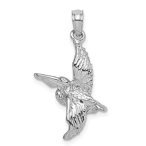 - 14K White Gold 3-D Pelican Flying Charm Pendant