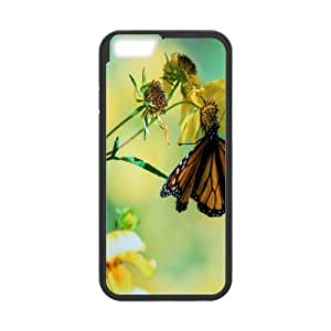 iPhone 6 Plus Case Butterfly On Flower, iPhone 6 Plus Case Butterfly Protective Cute For Girls, [Black]