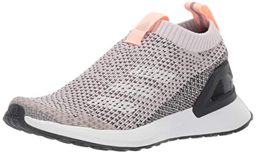 adidas Unisex RapidaRun Laceless Knit Running Shoe, Orchid Tint/Carbon/Clear Orange, 1.5 M US Little Kid ()