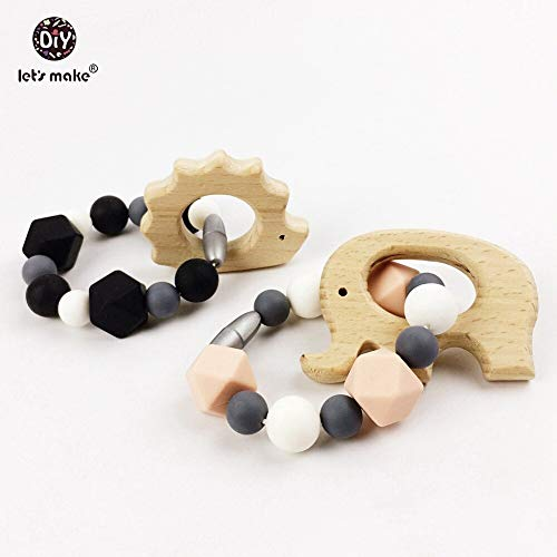 (Silicone Teething Geometric Wooden Toddler Toy Silicone Bracelet (2pc))