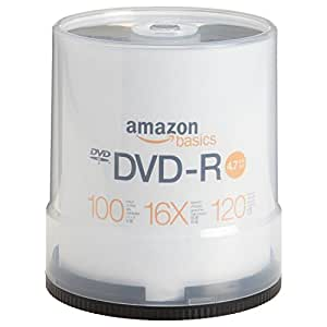 AmazonBasics - Torre de DVD-R de 4,7 GB (16x, 100 unidades)
