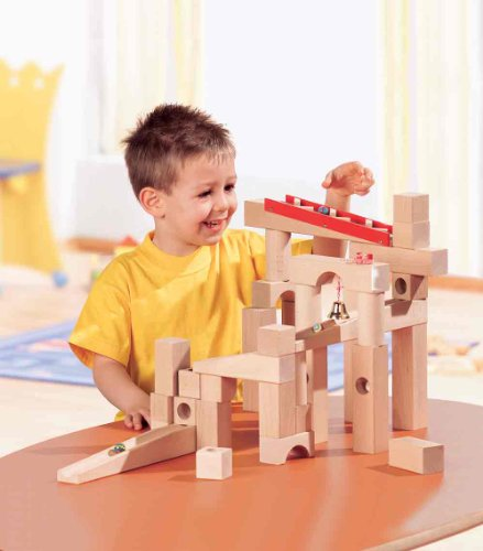 HABA Ball Track Large Basic Set - 42 Piece Wooden Marble Run for Beginner to Expert Architects Ages 3 to 10 (Made in Germany) by HABA