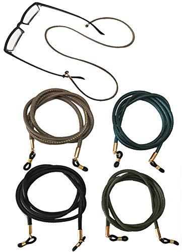 Kenkio 4 pieces PU Leather Eyeglass Strap Eyeglass Chain Eyewear Cord Holder