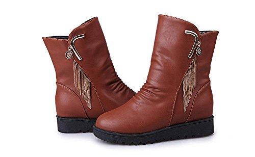 parte botas brown plana botas inferior zapatos light mujer cabeza Botas además Martin mujer cálido cachemira de interior salvaje en aumentada de redonda de manga el 4qwx0TS