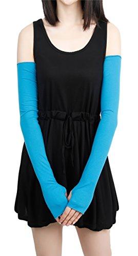 Women Stretchy Long Sleeve Fingerless Gloves (Blue)