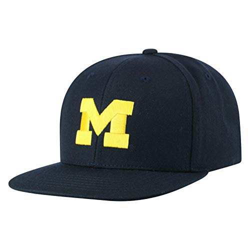 Top of the World NCAA Men's Flat Brim Snap Back Team Icon Hat, Michigan Wolverines Navy, Adjustable ()