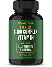 B-100 Complex Supplement Designed to Aid in Cellular Support to Supplement Energy and Healthy Immune System While Decreasing Stress Levels; Includes All Essential B Vitamins; Non-GMO; 50 Tablets