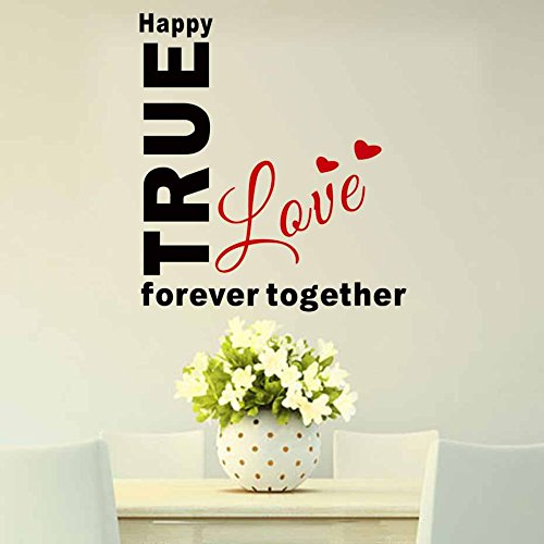 Wall Sticker Home Art Quotes Happy True Love Forever Together Quote Wall Sticker DIY English Words Decal Removable Vinyl Wall Art for Bedroom Home Decoration -