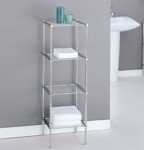 Organize It All 16984w 4 Tier Chrome Finish Metro Bath Shelf