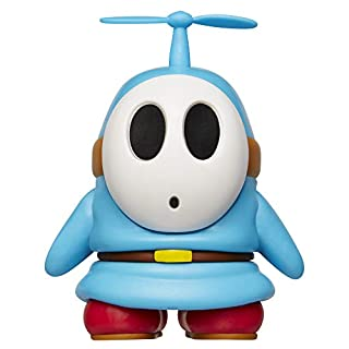 """SUPER MARIO Nintendo Collectible Blue Shy Guy 4"""" Poseable Articulated Action Figure with Propeller Accessory, Perfect for Kids & Collectors Alike! for Ages 3+"""