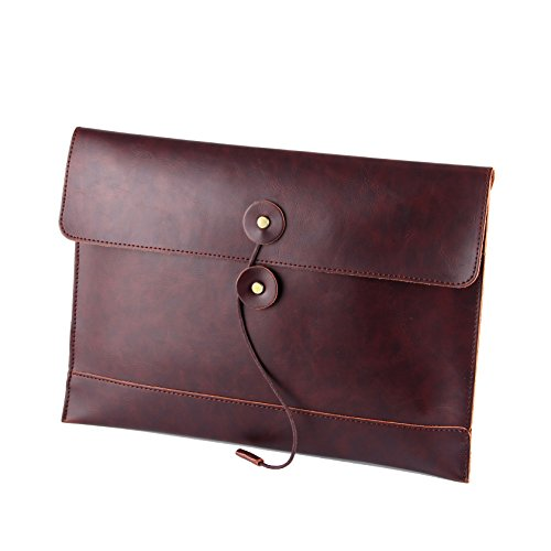 - men woman pu leather multifunction office documents bags A4 paper file pouch envelope bag conference (brown)