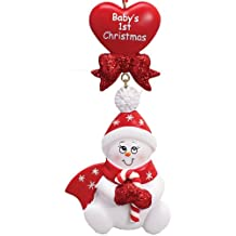 Personalized Christmas Ornaments 2018 Baby's 1st Christmas Red Snowman with Candy Cane Heart First Christmas Santa Hat Ribbon Cute Baby Girl Baby Boy Gender Neutral Holiday Tree Ornament
