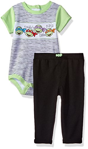 Tmnt Suit (Nickelodeon Baby Boys' Teenage Mutant Ninja Turtle Bodysuit and Jogger Pant Set, Green, 3/6M)