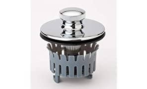 "Drain Buddy Bathtub Drain Stopper with Hair Catcher Basket | Fits 1.5"" Wide x 1.25"" Deep Tub Drains 
