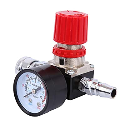 "PanelTech 1/4"" Air Compressor Pressure Regulator 140PSI Control Valve with Gauge Quick Release Compressor Fitting"