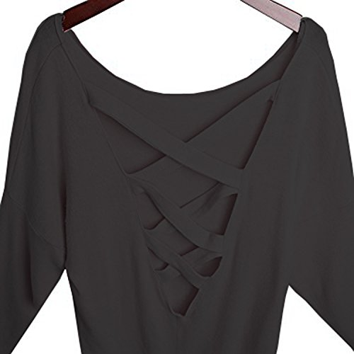 Yingkis Women Cut Out Loose Pullover Criss Cross Backless Sweater Shirt Top,B M by Yingkis (Image #4)