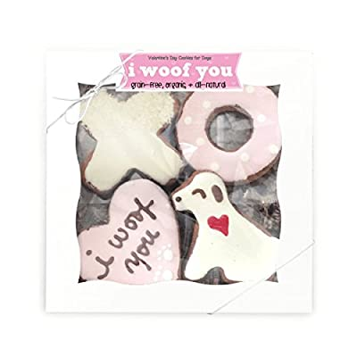 """Valentines Dog Treats, """"I Woof You"""" grain-free and organic cookies for dogs"""