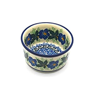 Polish Pottery Ramekin – Blue Pansy