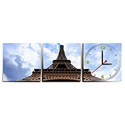 Premium Eiffel Tower Wall Clock by Clever Creations | Adhesive 3 Piece Wall Clock | Battery Powered | Wall Decoration for Any Room in Your House | Beautifully Designed