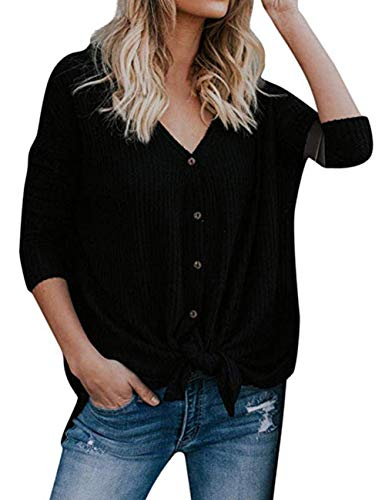 Womens Knot (Womens Waffle Knit Tunic Blouse Tie Knot Henley Tops Long Sleeve Button Down Front Bat Wing Plain Shirts Black XL)