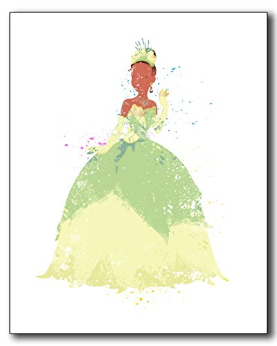 [Tiana The Princess and the Frog Disney Watercolor Photo Prints - Unique Kids Wall Art] (100 Year Old Costume Ideas For Kids)