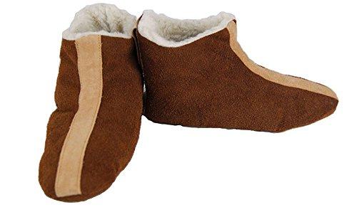 brandshopping99 - Zapatillas de estar por casa de Piel para mujer marrón