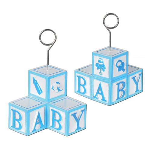Baby Blocks Photo/Balloon Holder (lt blue) Party Accessory  (1 count)