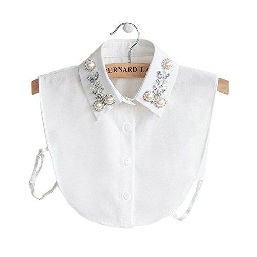 Joyci New Arrival Diamond Pearl False Collar PeterPan Fake Collar Half Shirt Dickey (White)