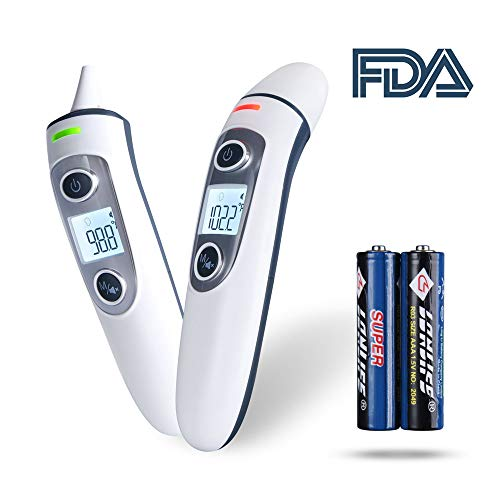 Forehead and Ear Thermometer, XFJ 5-in-1 Digital Baby Thermometer, Precise Medical Infrared Fever Thermometer, Clinically Tested 1 Second Measurement, 35 Readings for All Ages( Battery Included)