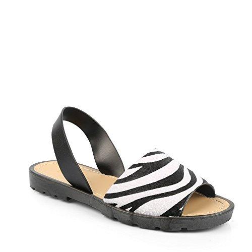 Ideal Shoes Sandale Flach, Bride Ocea Zebre