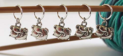 Charm Knitting Markers - Set of 5 Sheep Stitch Markers for Knitting