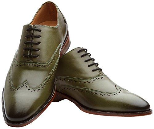3dm Lifestyle Handgemaakte Heren Echt Leder Klassieke Brogue Oxford Wing-tip Lace Up Leder Bekleed Geperforeerde Jurk Oxfords Schoenen Olijf