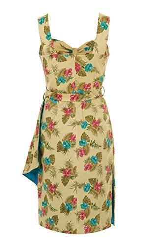 Zitronengelb Kleid mit Collectif Tallulah Damen Hibiskusblüten qZAYW7tw