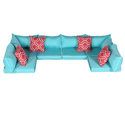 Do4U Patio Furniture Cover Water Resistant Outdoor Furniture Sets Cushion Cover Set with 2 Corner/ 4 Middle Sectionals Back & Seat Cushion Covers(Turquoise-14 Pieces) (Pillow Back Sectional Sofa)
