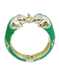 Austrian Crystal Green Enamel Classic 2 Elephant Animal Bangle Bracelet Clear Gold-Tone