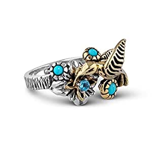 Fritz Casuse Sterling Silver Mixed Metal Turquoise Blue Topaz Hummingbird Ring