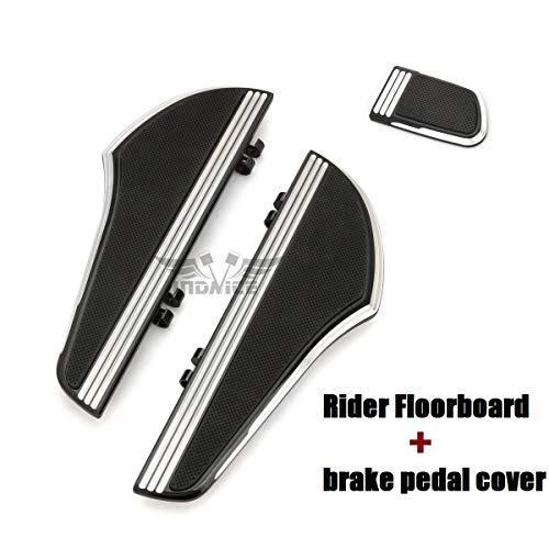 (Black CNC Defiance Rider Footboard Kit brake pedal cover for touring street glide FLHX driver floorboards FLHR FLTR FLHT Footboards softail slim 2000-2019)