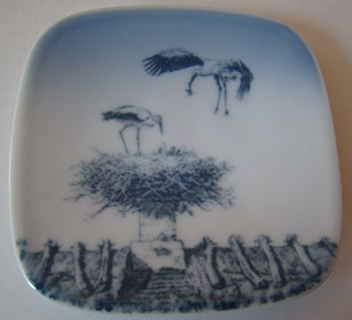 Bing and Grondahl Copenhagen Porcelain Wall Plate with storks and nest design - 3 inches. square. Numbered and - Stores Design Copenhagen