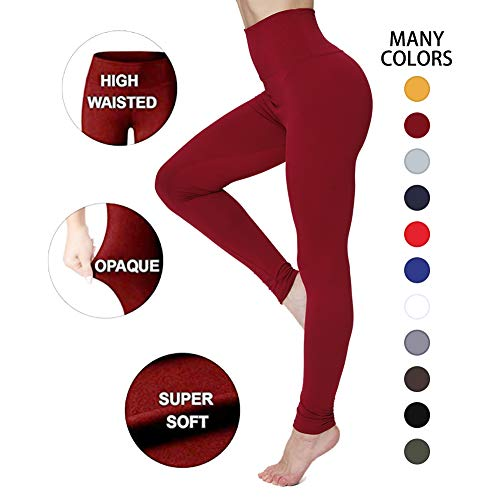Workout Pants Athletic - High Waisted Leggings for Women – Soft Athletic Workout Pants - Reg & Plus Size (Burgundy, One Size (US 2-12))