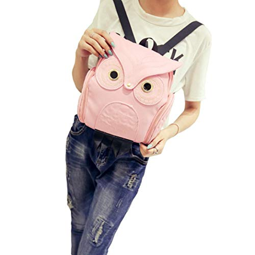 Outsta Cute Owl Backpack,Fashion Women Cartoon School Bags for Teenagers Girls Phone Bag Holders Classic Casual Daypack Travel (Pink)