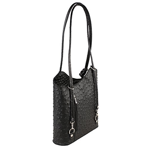 in 28x30x9 Chicca in Borse Pattern Bag Cm Woman Black Genuine Ostrich Leather Italy Made Shoulder xq78wF8vI