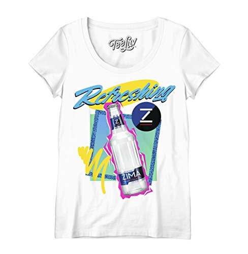 Tee Luv Zima T-Shirt for Women - Refreshing Zima Scoop Neck 90s Shirt (Small) White Beer Womens Scoop Neck T-shirt