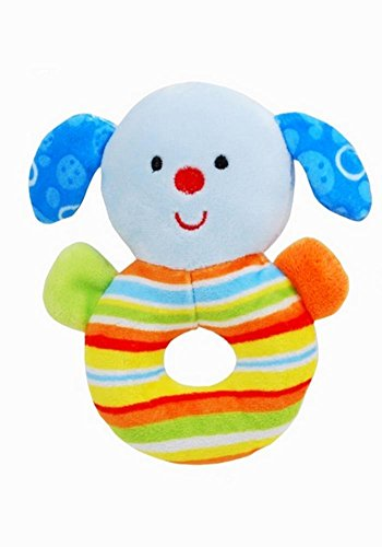 DBK Gifts Take Along Baby Toy Soft Animal Sensory Activity Rattle (Blue Puppy Dog)