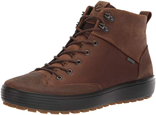 Suede Boot Gore Tex (ECCO Men's Soft 7 TRED High Top Gore-TEX Sneaker, Cocoa Brown Suede/Cocoa Brown Nubuck, 47 M EU (13-13.5 US))