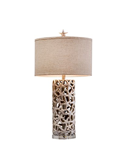 Catalina Lighting 19916-000 Starfish Table Lamp with Linen Drum Shade and Silken Liner, 16